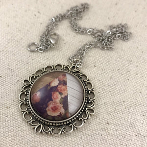 Pink Floral Wood Necklace - Antique Silver