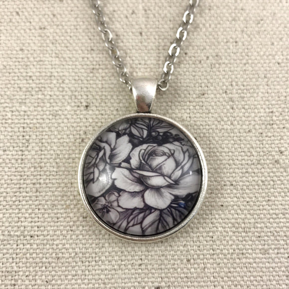 Black and White Rose Necklace - Antique Silver