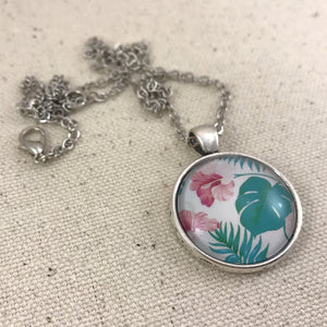 Tropical Leaves and Hibiscus Necklace - Antique Silver