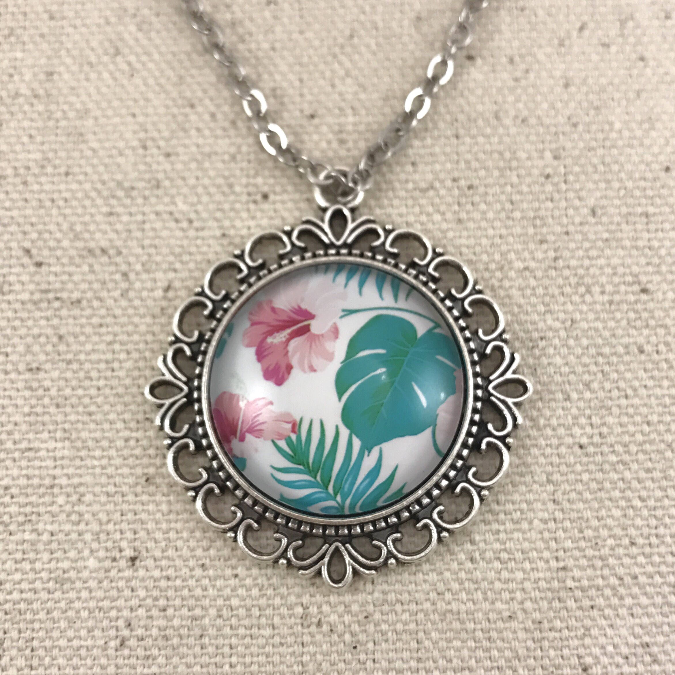 Tropical Leaves and Hibiscus Necklace - Antique Silver Ornate