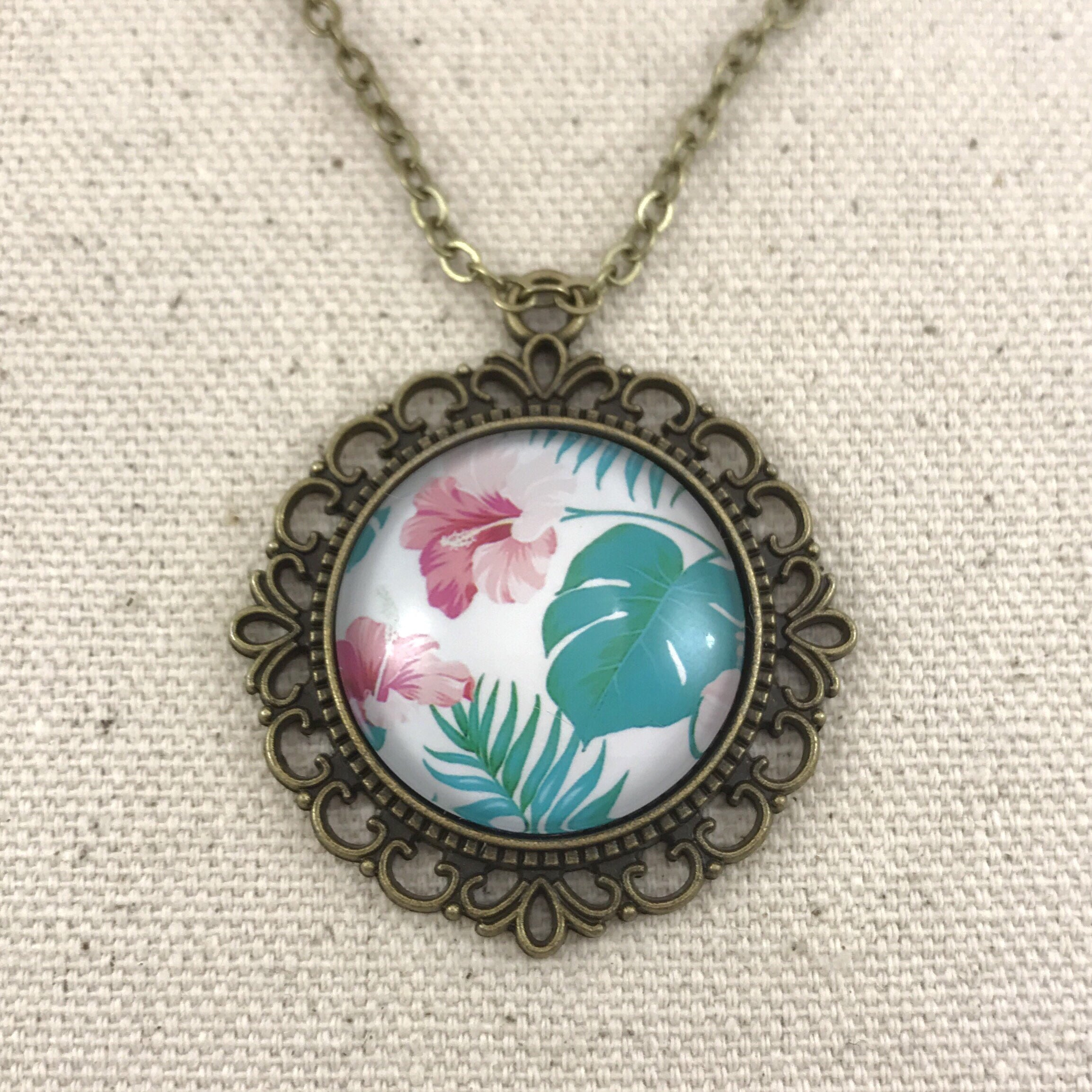 Tropical Pink Teal Necklace Antique Brass