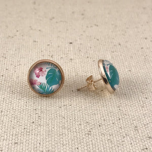Tropical Pink Teal Rose Gold Studs Earrings