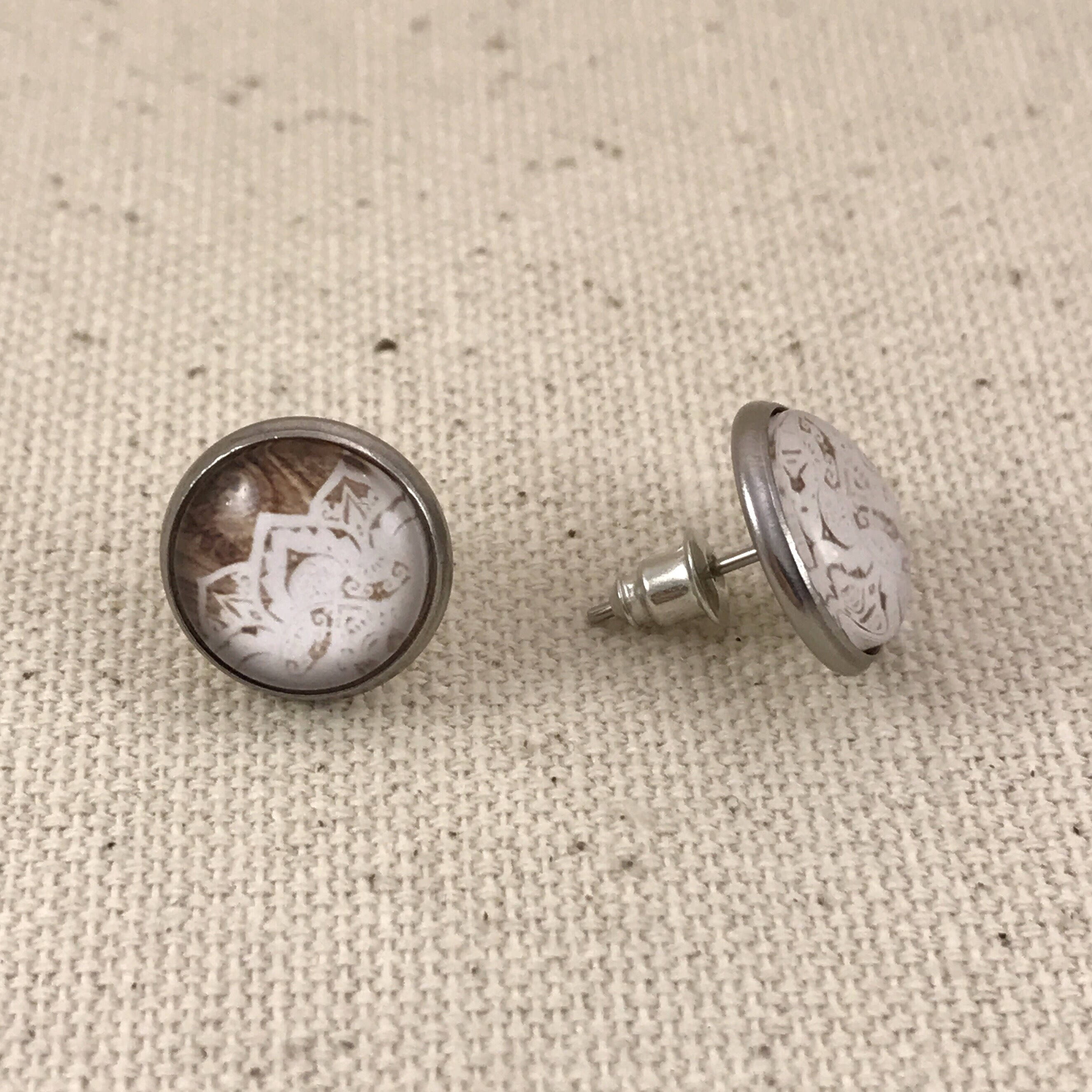 Lace Wood Stainless Steel Studs Earrings