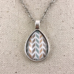 Peach Blue Tan Chevron Teardrop Necklace