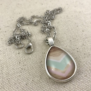 Blue and Pink Chevron Necklace - Antique Silver