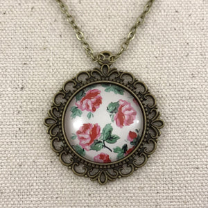 Vintage Rose Necklace Antique Brass