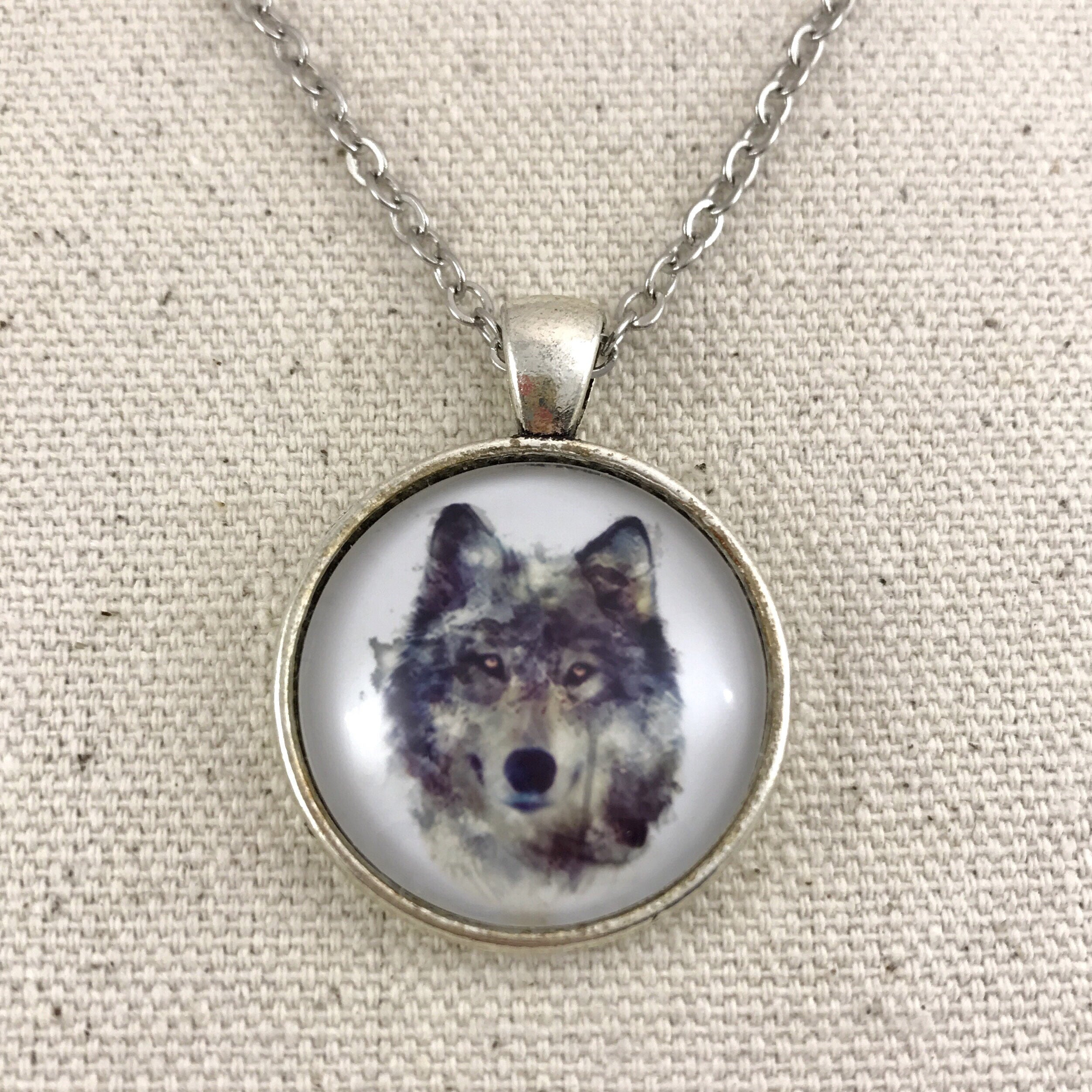 Wolf Necklace Antique Silver