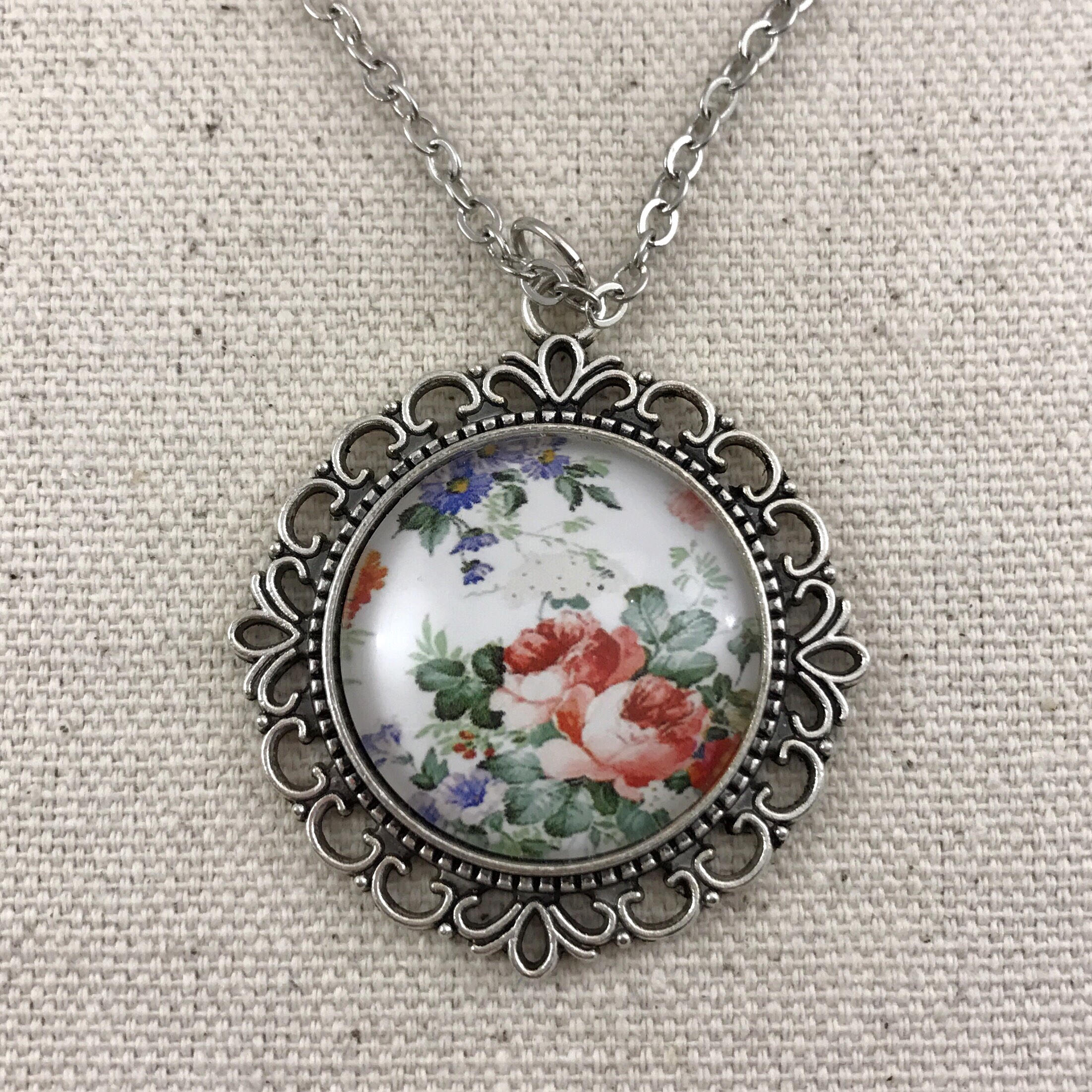 White Floral Necklace Antique Silver