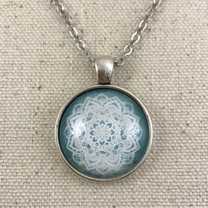 Blue and White Mandala Necklace - Antique Silver