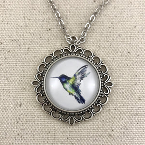 Hummingbird Necklace Antique Silver