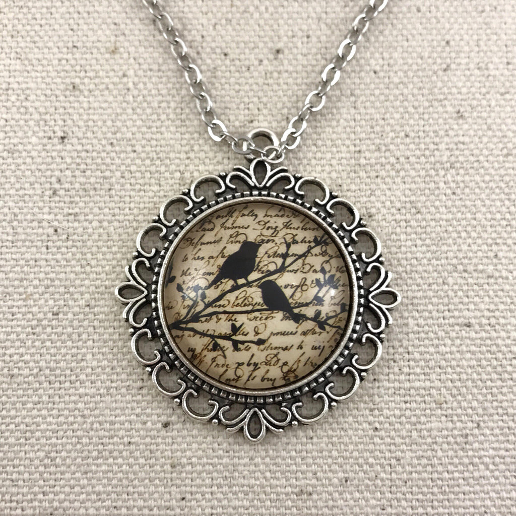 Vintage Bird Necklace Antique Silver