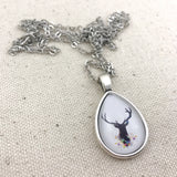 Floral Deer Necklace - Antique Silver