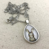 Brown Bunny Rabbit Necklace - Antique Silver