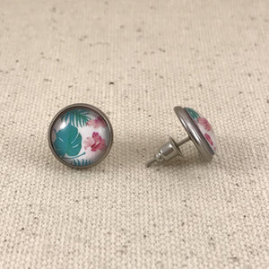 Tropical Pink Teal Stainless Studs 12mm