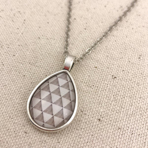 Grey White Triangle Necklace Antique Silver