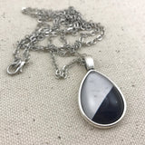 Grey and Black Marble Necklace - Antique Silver