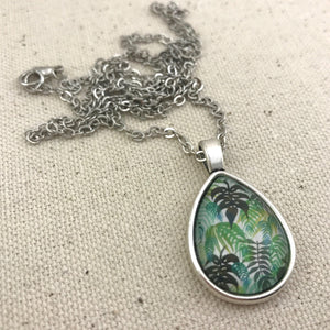 Tropical Leaf Necklace Antique Silver