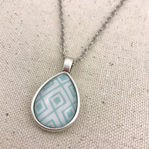 Blue Geometric Necklace - Antique Silver