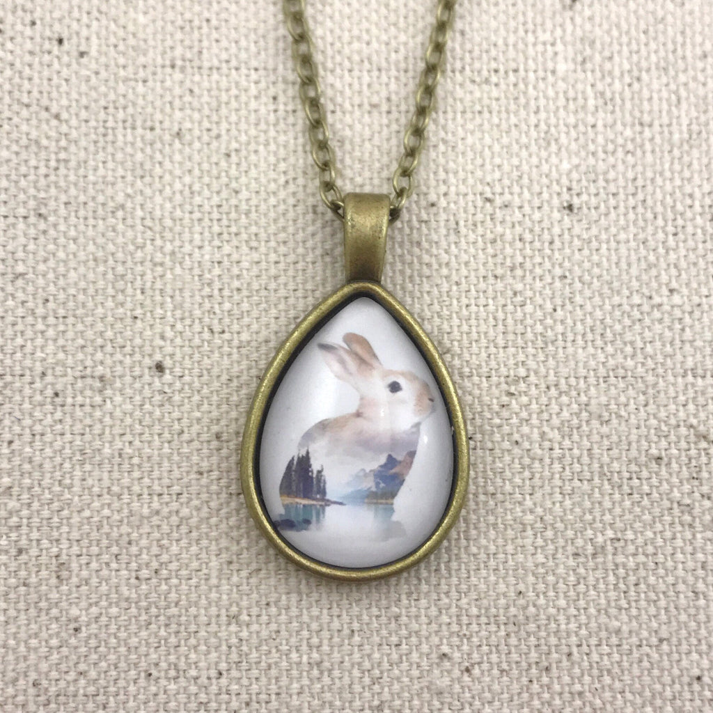 Landscape Rabbit Necklace - Brass