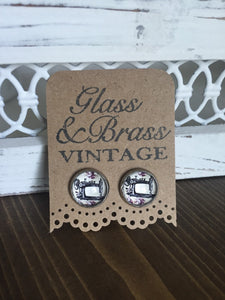 Vintage Sewing Machine Earrings Seamstress Stainless