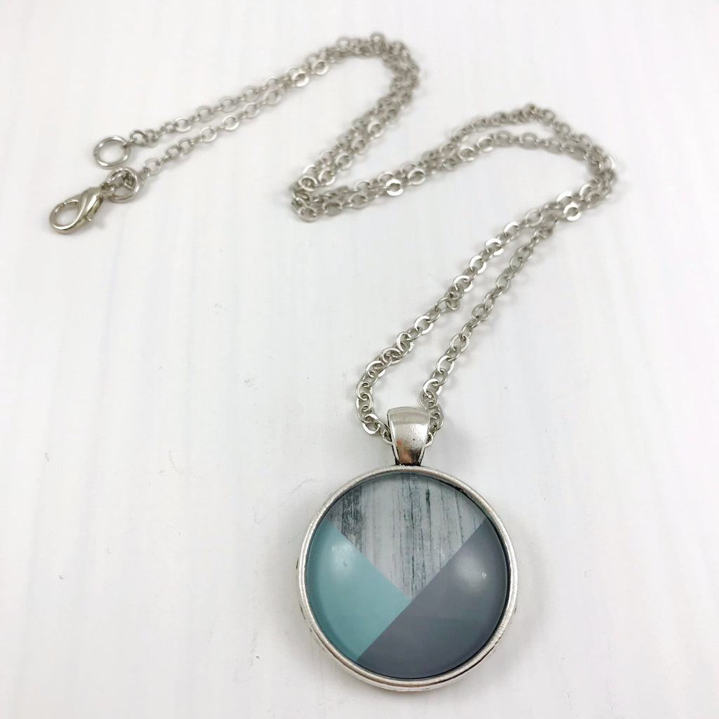 Blue Grey and Wood Necklace