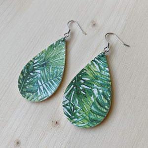 Tropical Leaves Vegan Leather Teardrop Earrings