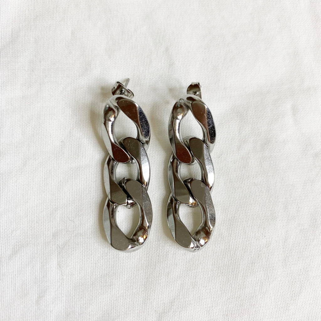 Chunky Chain Earrings - Silver