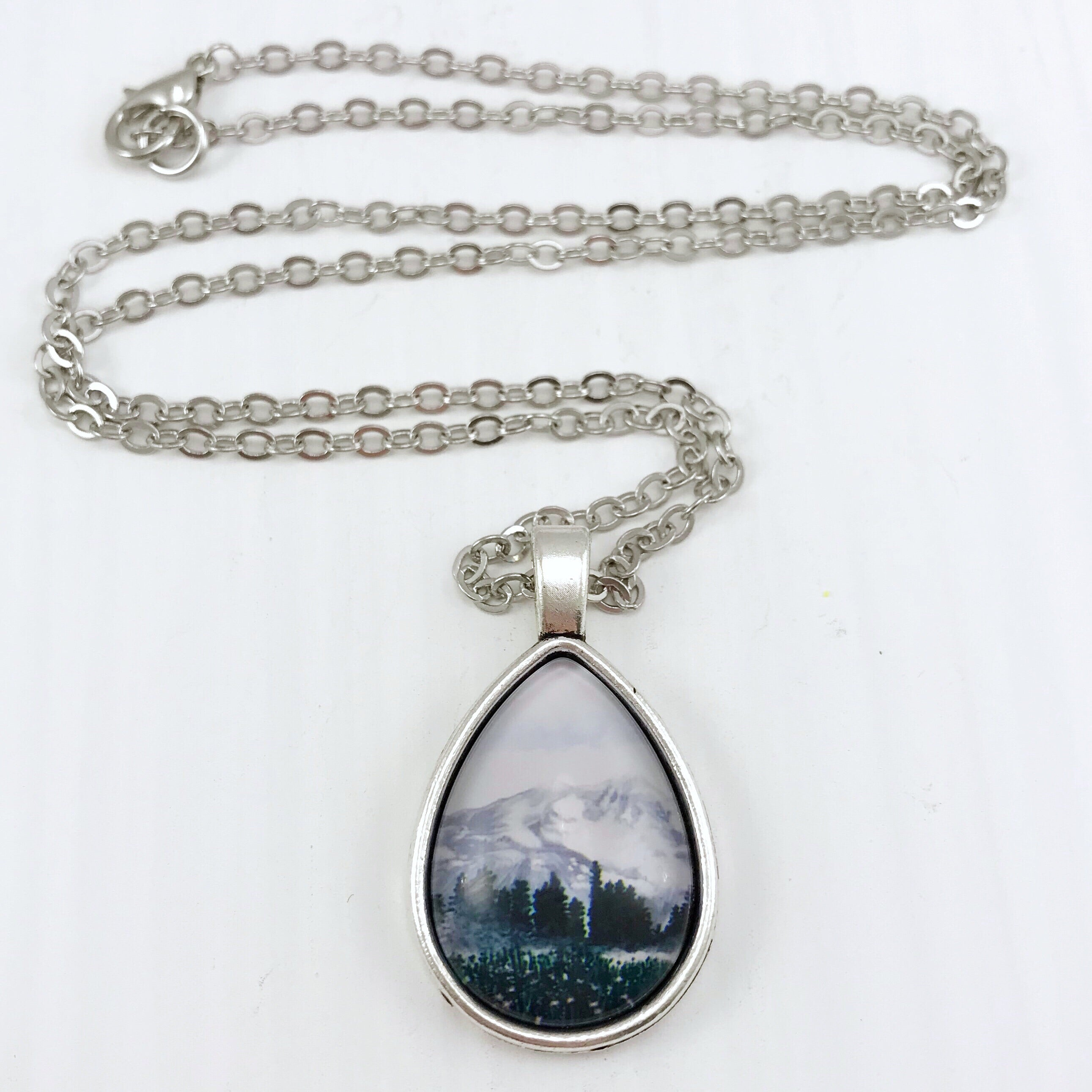 Snowy Landscape Teardrop Necklace - Antique Silver