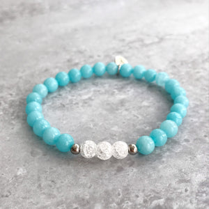 Aquamarine and Cracked Quartz Bracelet - 6mm