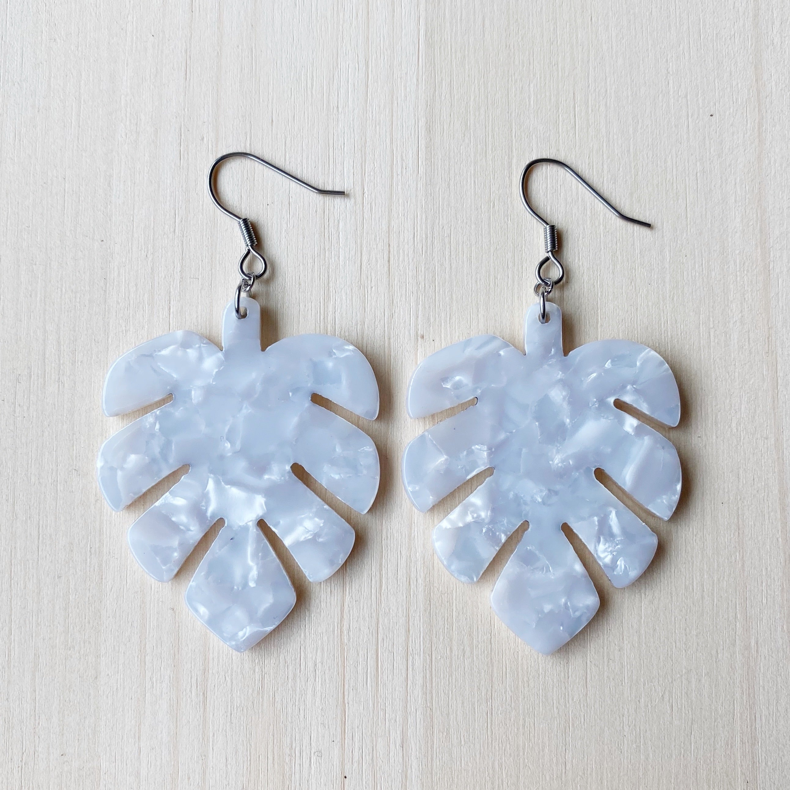 Monstera Acetate Earrings - White