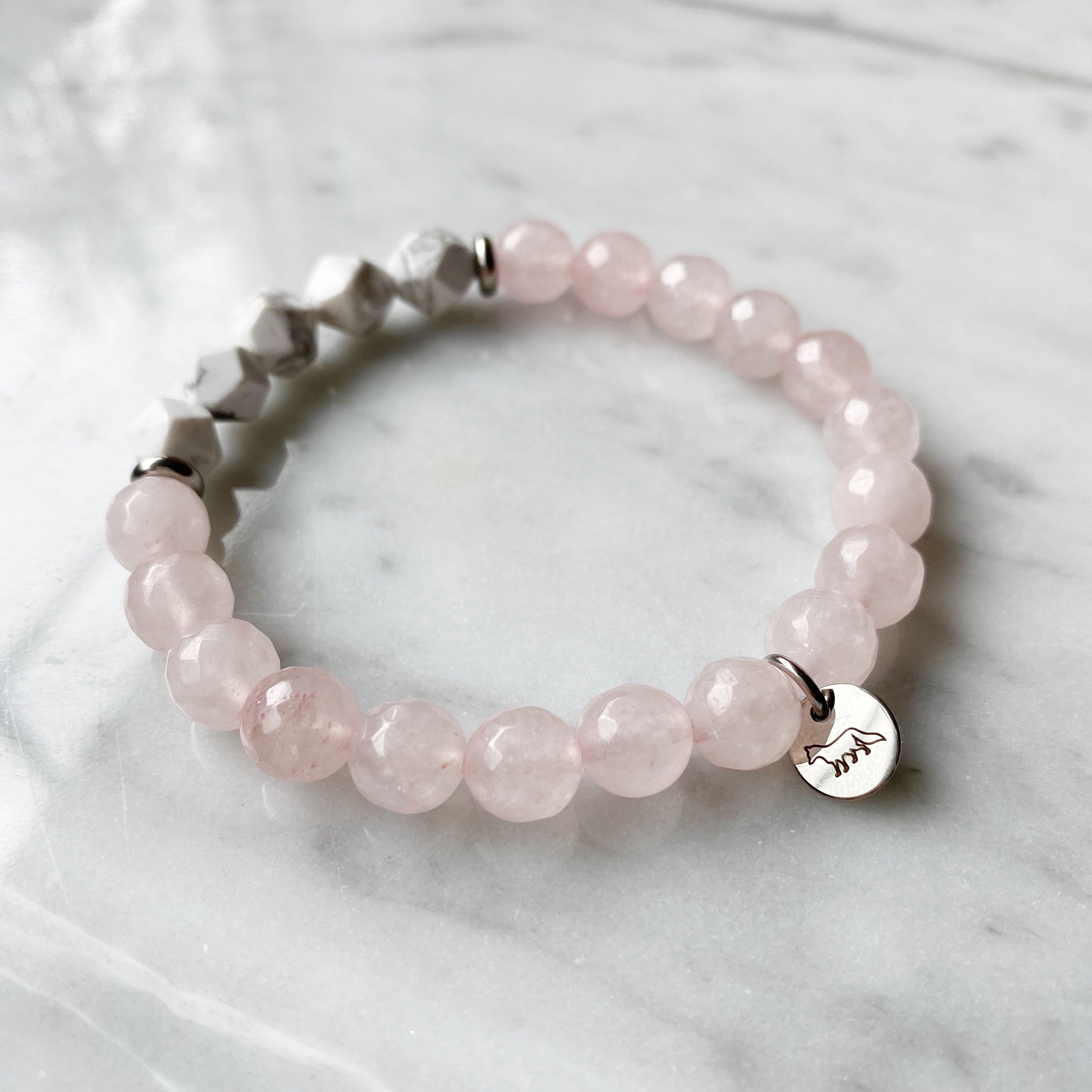 Rose Quartz and Howlite Bracelet - 8mm