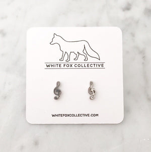 Music Note Earrings - Silver