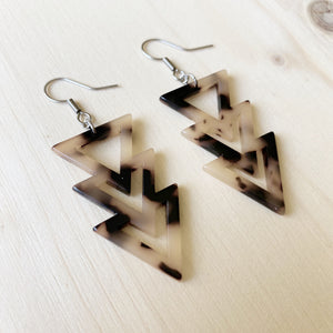 Triangle Drop Acetate Earrings - Fawn