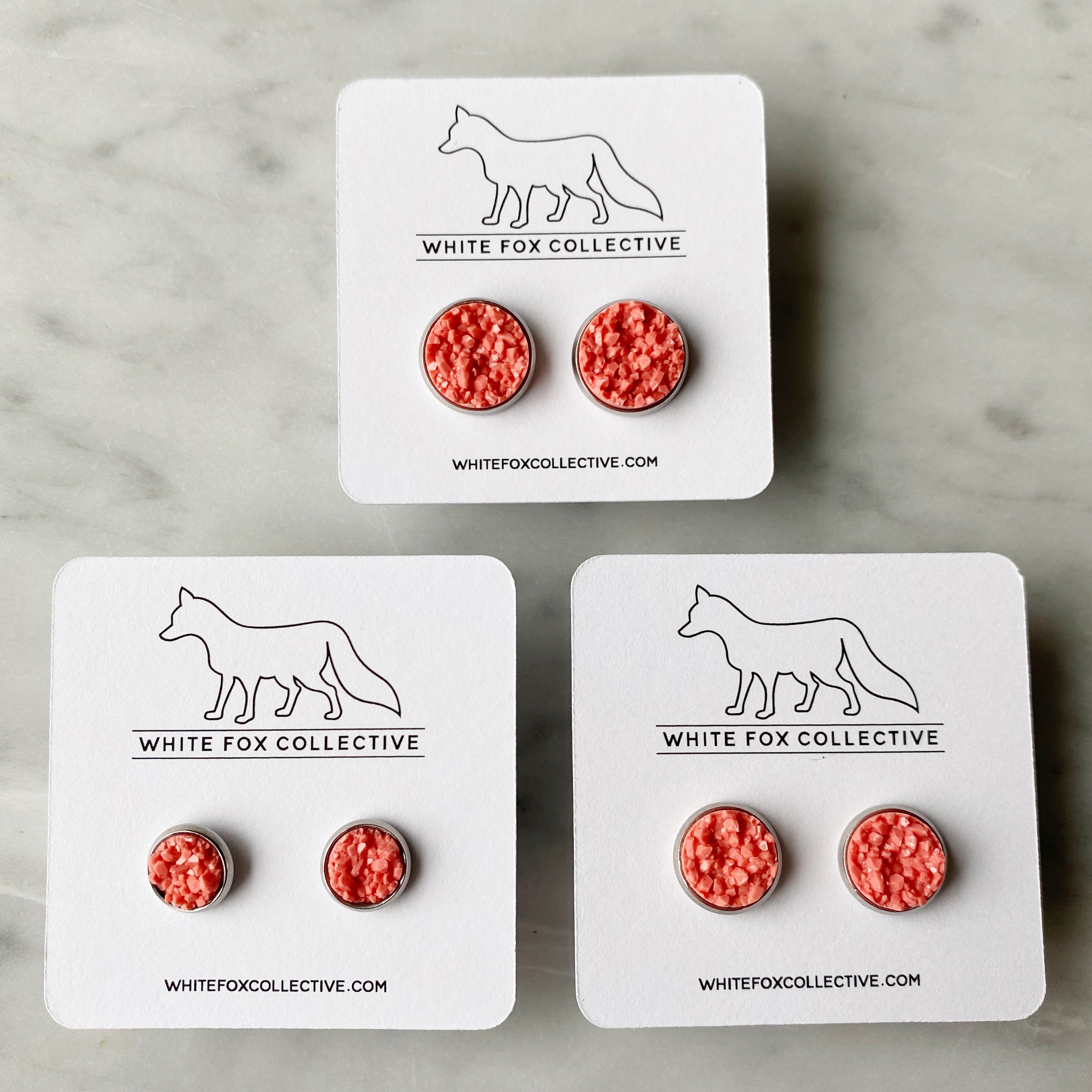 Faux Druzy Earrings - Coral