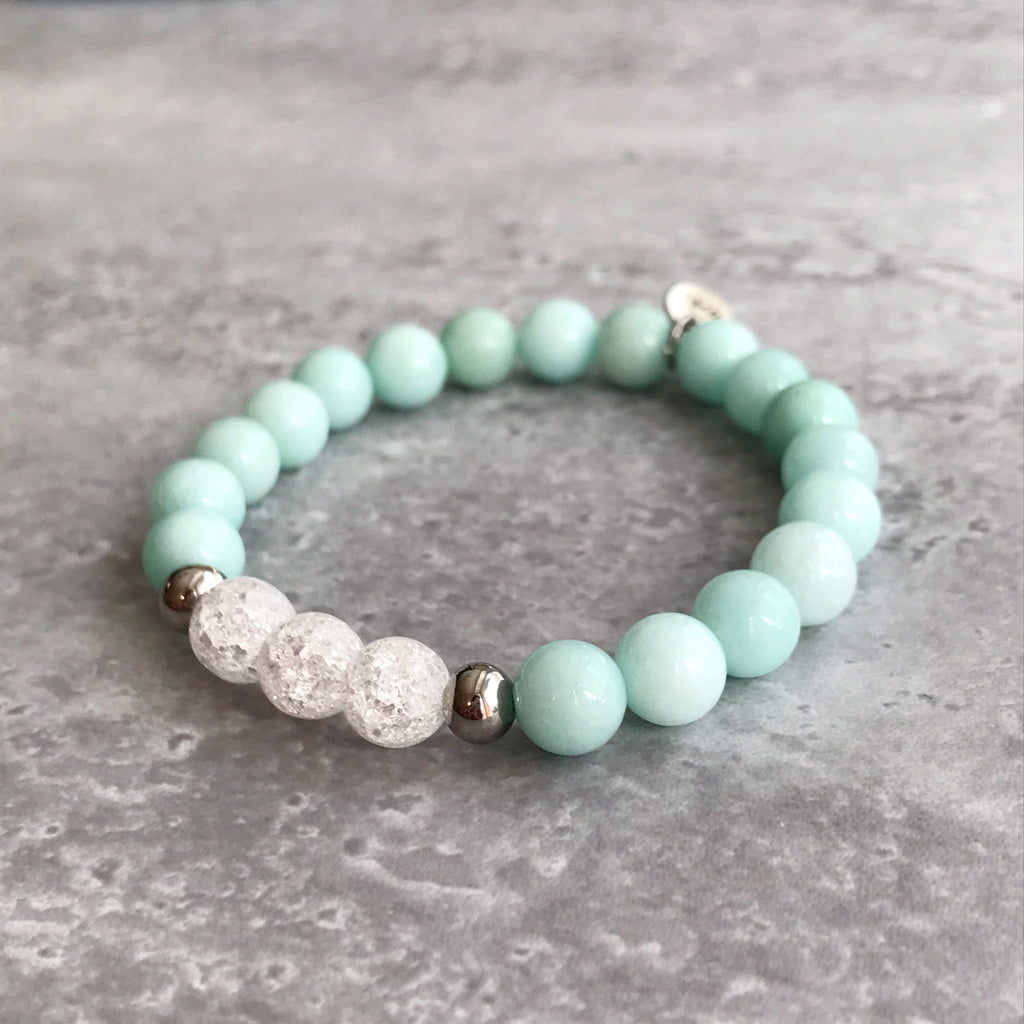 Blue Amazonite and Cracked Quartz Bracelet - 8mm