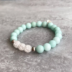 Amazonite and Cracked Quartz Bracelet - 8mm