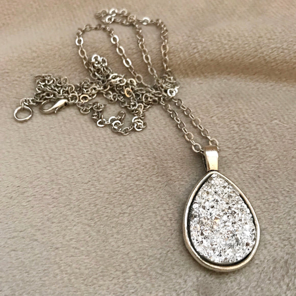 Silver Faux Druzy Necklace - Teardrop