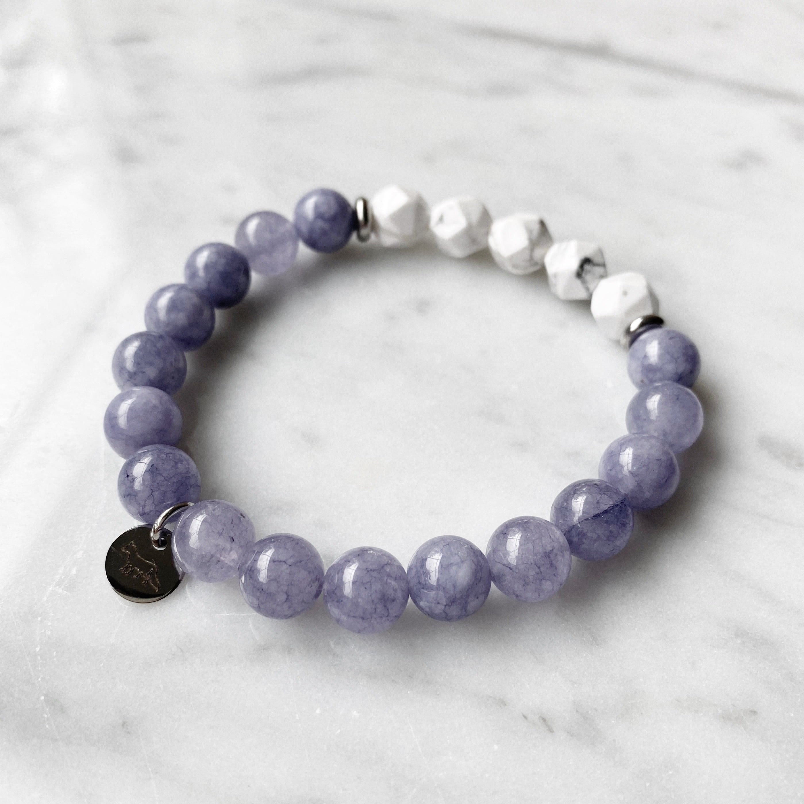 Purple Angelite and Howlite Bracelet - 8mm