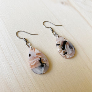 Tiny Teardrop Acetate Earrings - Pink, White and Black