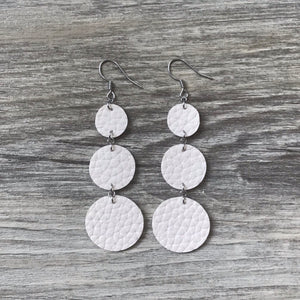 Cream Vegan Leather Long Circle Earrings