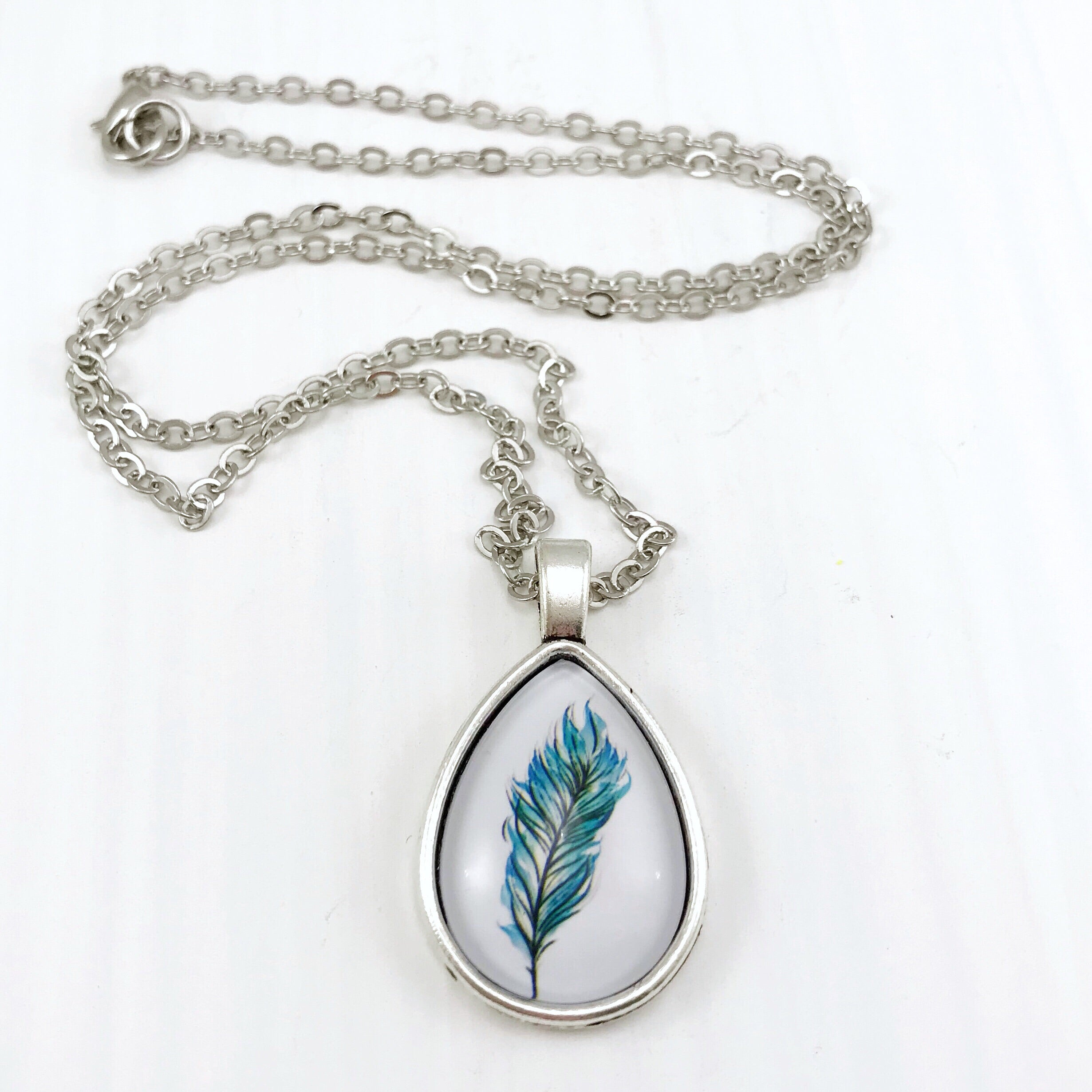 Blue Feather Teardrop Necklace - Antique Silver