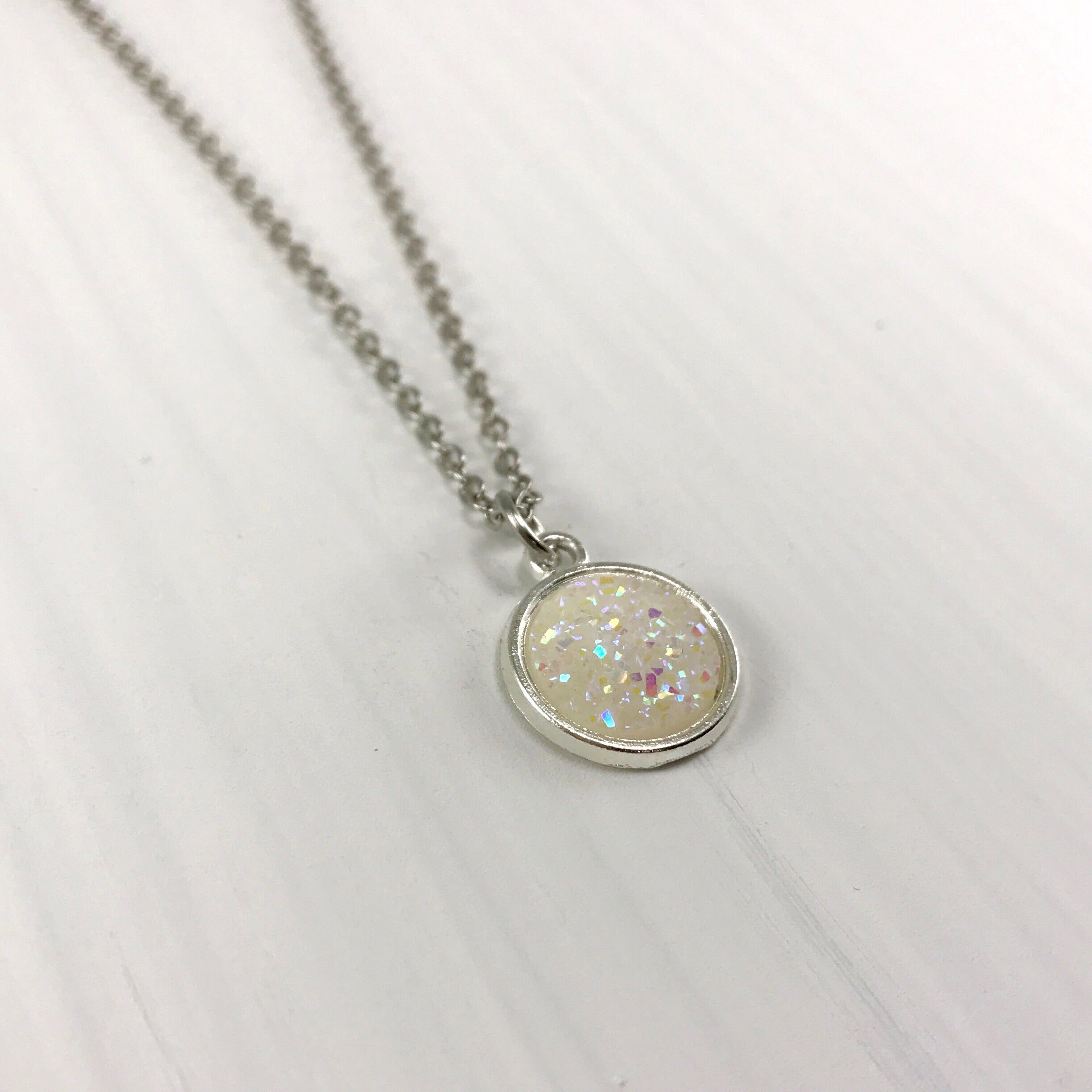 Iridescent White Faux Druzy Necklace - Small