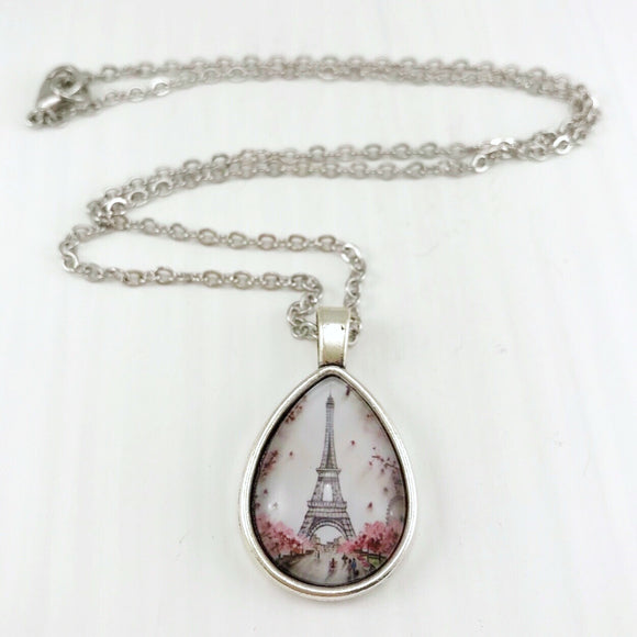 Eiffel Tower Teardrop Necklace - Antique Silver