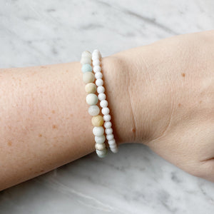 Matte Amazonite and White Agate Bracelet Set 6mm - 2 Piece