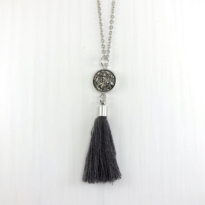 Long Faux Druzy Tassel Necklace