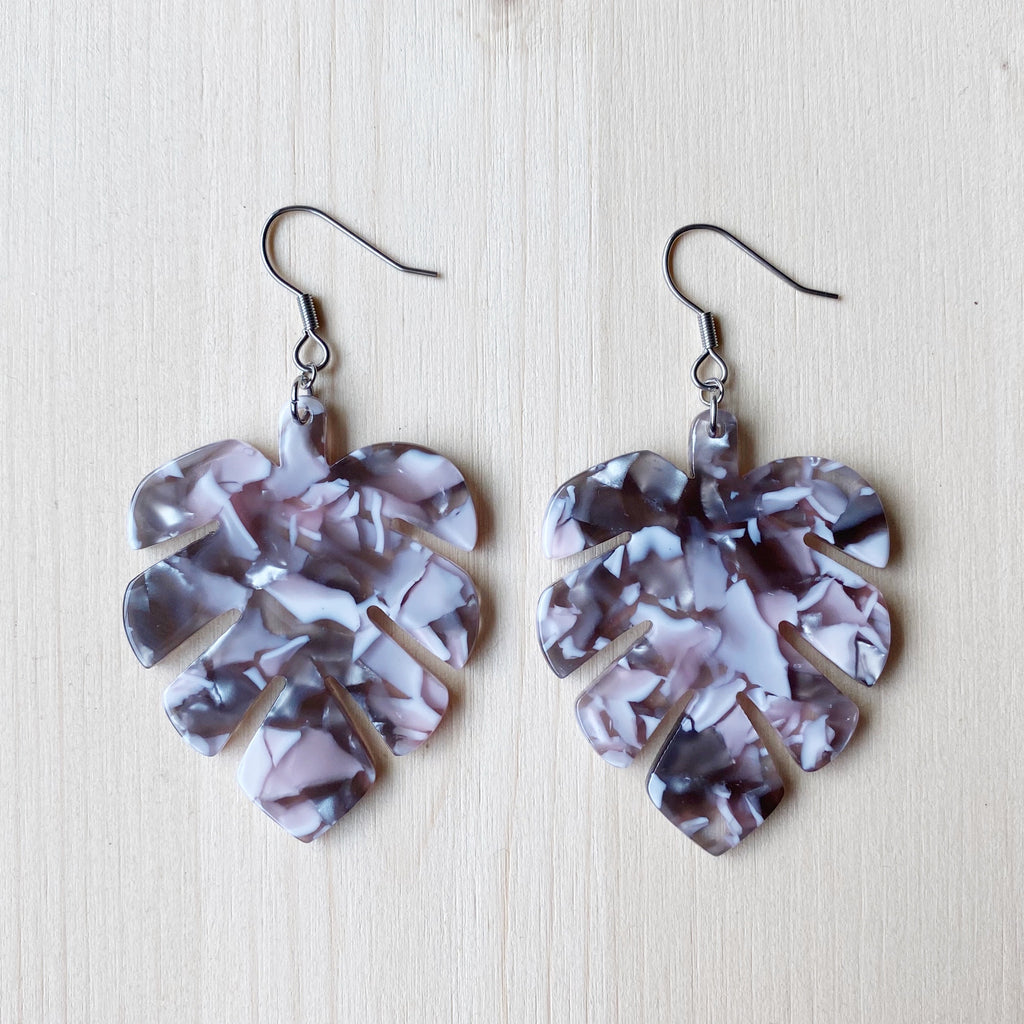 Monstera Acetate Earrings - Lavender and White
