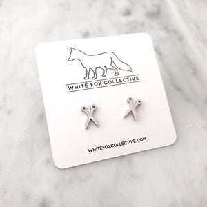 Scissor Earrings - Silver