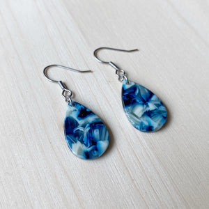 Tiny Teardrop Acetate Earrings - Blue and White