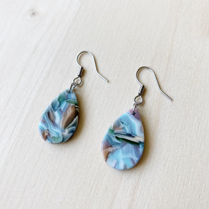 Tiny Teardrop Acetate Earrings - Sea Glass