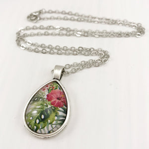 Tropical Leaves and Hibiscus Teardrop Necklace - Antique Silver